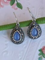 Artisan Blue Chalcedony And Marcasite Sterling Silver Hook Dangle Earrings