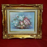 "Vtg Robert Cox Canvas Painting Floral Still Life in Gilt Gilded Frame 15"" x 13"""
