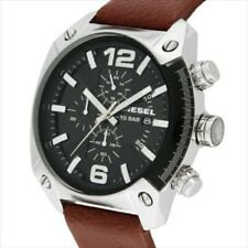 DIESEL WATCH Men's DZ4296  Overflow Stainless Steel Brown Leather Watch New