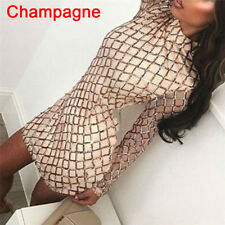 Women's Autumn Winter Dress Sexy Long Sleeve Dresses Sequin Party Bodycon Dress~
