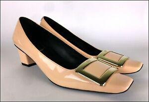 ROGER VIVIER Patent LEATHER Belle TROMPETTE Pumps COURT Shoes SALMON PINK sz 35