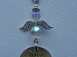 TRUST YOUR GUARDIAN ANGEL CAR REAR VIEW MIRROR HANGING ORNAMENT CHARM MOBILE