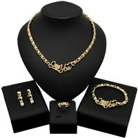 HUGS & KISSES xo set necklace bracelet earrings ring 18k Layered real gold #48