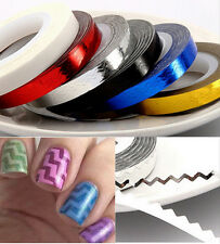 3D Nail Art Tips ZigZag Wave Pattern Striping Tape Roll Self Adhesive Sticker