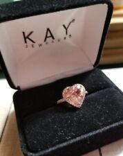 $999 Kay Kays jewelers 10k Rose Gold 2.75ct Morganite heart halo Diamond ring