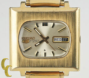 """Seiko Men's Automatic Gold-Plated """"TV Dial"""" Watch 21 Jewels 6119 w/ Day & Date"""