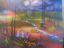 Folk Art Halloween Haunted Moon Ghosts Moonlit Fall Autumn Lizzy Rainey