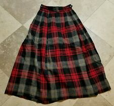 Vintage Ralph Lauren Wool Plaid Skirt Women's Size 4 Red Black Ankle Length