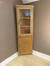 Toronto Solid Oak Tall Corner Display Cabinet / Cupboard 61cm 34cm 180cm