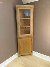 Toronto Solid Oak Tall Corner Display Cabinet Cupboard 61cm 34cm 180cm