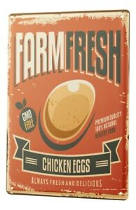 Tin Sign Nostalgic Fun Chicken Eggs