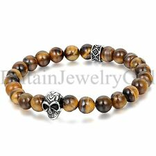 "8.9"" Mens Bracelet 8MM Tiger Eye Ball Beaded Silver Tone Skull Head Chain Bangle"