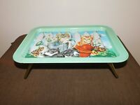 "VINTAGE 17"" X 12"" METAL BED CATS KITTENS  IN GARDEN SNACK TRAY TABLE"