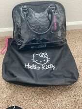LOUNGEFLY Loves HELLO KITTY Shiny BLACK Patent Embossed Purse Bag Weekender