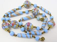 Antique Art Deco Venetian Glass Gold Aventurine Wedding Cake Bead Necklace