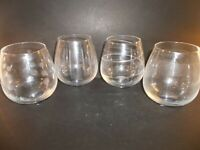 Set Of 4 Mikasa Crystal Cheers Stemless Wine Glasses GHS02-403 With Tags