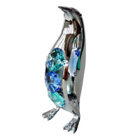 Crystocraft Penguin Crystal Ornament With Swarovski Elements Gift Boxed Blue