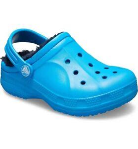 New Crocs Winter Faux Shearling Lined Clog Kids Size 2M Ocean Blue