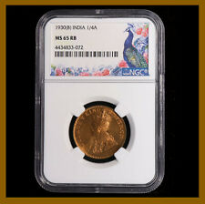 British India 1/4 (Quarter) Anna, 1930 (B) Bombay NGC MS 65 RB King George V