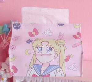 Cute SailorMoon PU Bathroom Home Office Car School Tissue Kleenex Cover Holder