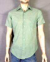 vtg 60s Penneys Towncraft SS Green Button Dow Dress Shirt Mod rockabilly M