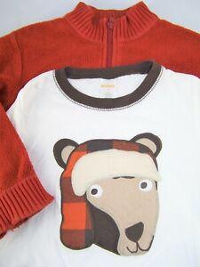 Boys GYMBOREE orange sherpa sweater bear t shirt 5 5T outfit ivory brown fall