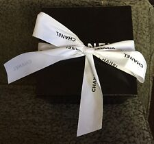 "VINTAGE 8-1/4""X 6-1/2""X 8-1/2"" CHANEL EMPTY GIFT BOX BLACK WHITE W/Ribbon"