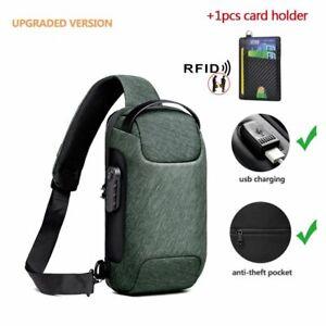 Shoulder Bag For Men Waterproof USB Male Shoulder Crossbody Anti-Theft Travel