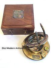 Sundial Compass Vintage Brass Nautical 4 Inch Teak Wooden Box Steampunk Style