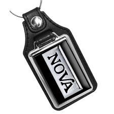 1976 1977 Chevy Chevrolet Nova Black Silver Emblem Design Faux Leather Key Ring
