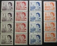 Canada #466,467,468 & 468A, MNH OG Lot Of 4 Coil Strips Of 4, Centennial Series