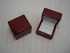PREMIUM GLOSSY ROSE WOOD WEDDING BAND ENGAGEMET RING LEATHER LINED DELUXE BOX