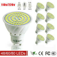 10 Pack GU10 LED Spotlight Downlight  MR16 E27 lamp Bulb 110/220V 48/60/80Leds