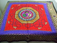"Classic Head Neck Scarf Shiny Red Black Purple Gold Crown Moon Tassel 34"" x 34"""