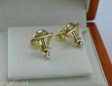 elegante Ohrstecker mit kl. Brillanten - Dreieck-Form / 375er - 9 Karat Gold