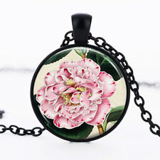 Pink Flower photo Black Dome Glass Cabochon Necklace chain Pendant #401