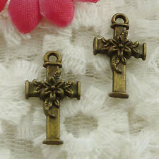 Free Ship 80 pieces bronze plated cross charms 20x12mm #1310
