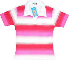 Ladies Cute Polo Collar Stripe T-Shirt 10-12 Medium Womens Pink Sexy New Tshirt