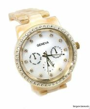 Genuine Horn MOP Dress Fashion Watch White MOP dial CZ ice designer