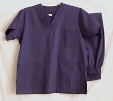 Scrub Set Top and Pants Solid Dark Purple Size XSmall Medical Uniform Nursing