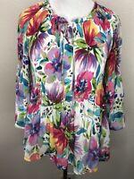 Women's Spense L Colorful Floral Pleat 3/4 Sleeve Top Blouse