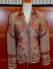 biya Johnny Was 3J Workshop Embroidered Brown Jacket Coat S Small