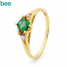 Emerald Solitaire with Accents Fine Diamond Rings