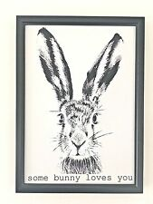 A4 Print Poster Picture Gift Some Bunny Loves You Typography