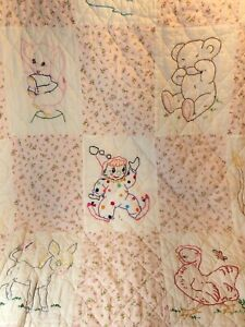 """VTG Hand Embroidered and Quilted Baby Quilt Crib Blanket Animals 46"""" x 60"""" Pink"""