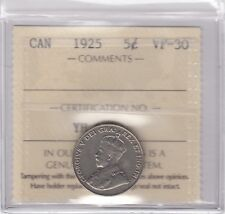 1925 Canada 5-cents Nickel Coin ICCS VF-30 Key Date