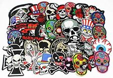 24pcs/lot Mixed 5-12cm Iron-on Embroidered Patches skull style Appliques New
