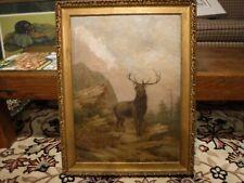 antique 19th century WILDLIFE PAINTING american ELK in landscape  OLD cabin hunt