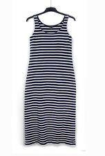 THE WHITE COMPANY (UK 14) Blue White Breton Striped Stretch Jersey Maxi Dress