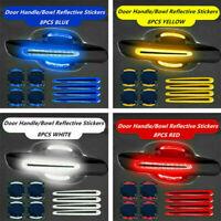 8Pcs Car Door Handle Bowl Anti-Scratch Protective Film Reflective Sticker Strip